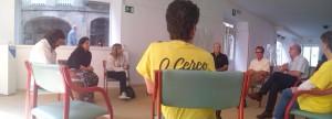 1Nuestra delegación en una reunión con los del Cerco de Malpica, Juan Fajardo, Anton Sánchez y Carmen Sánchez Queiruga